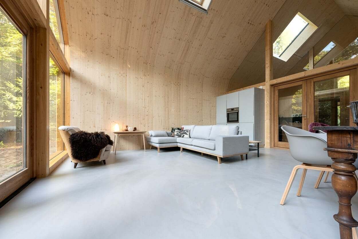 betonstuc vloer houtskeletbouwwoning
